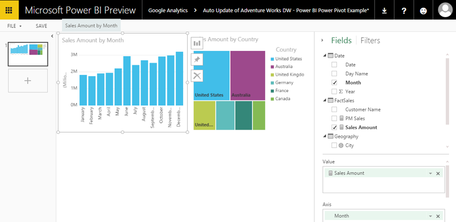 Power BI – Creating a Dashboard when not automatically created